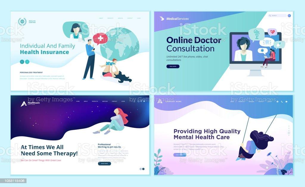 Set Of Web Page Design Templates For Medicine Health Insurance ...