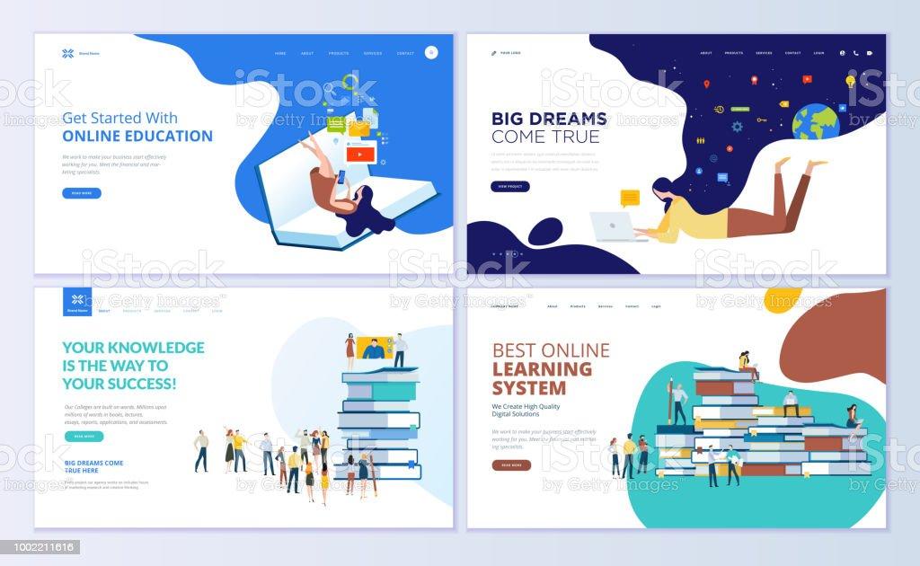 Conjunto de modelos de design de página da web para educação on-line, treinamento e cursos de aprendizagem, tutoriais em vídeo - ilustração de arte em vetor