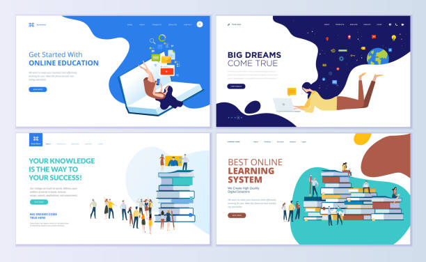 Set of web page design templates for online education, training and courses, learning, video tutorials vector art illustration