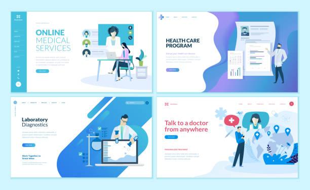 オンラインの医療支援、健康管理、研究所、医療サービスの web ページ デザイン テンプレートのセット。 - webサイト点のイラスト素材/クリップアート素材/マンガ素材/アイコン素材