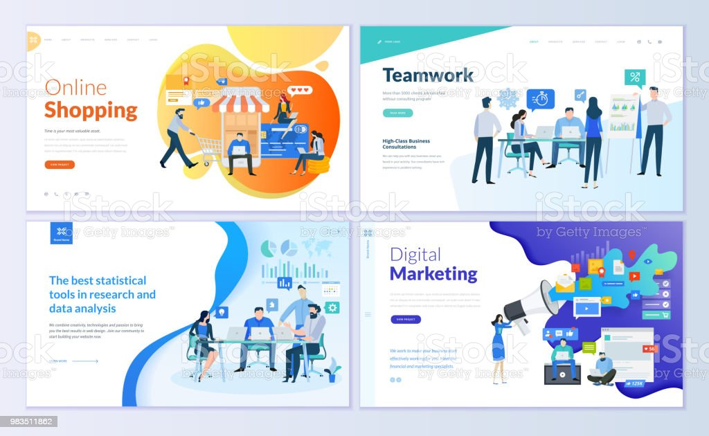 Set of web page design templates for online shopping, digital marketing, teamwork, business strategy and analytics vector art illustration