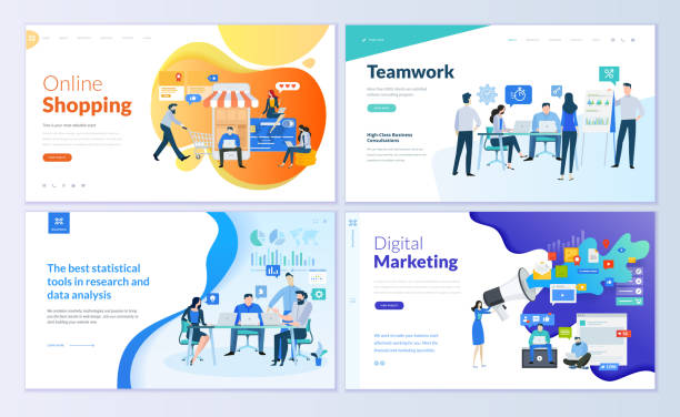 set of web page design templates for online shopping, digital marketing, teamwork, business strategy and analytics - business stock illustrations