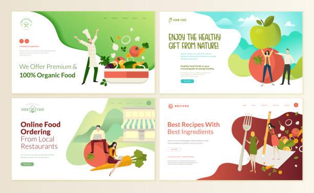 набор шаблонов дизайна веб-страниц для органических продуктов питания и напитков, натуральных продуктов, ресторана, онлайн-заказа еды, рец� - food delivery stock illustrations