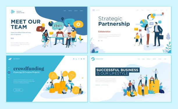 一組網頁設計範本為我們的團隊, 會議和集思廣益, 戰略夥伴關係, 眾籌, 業務成功 - 合夥關係 幅插畫檔、美工圖案、卡通及圖標