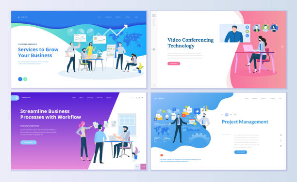 set of web page design templates for project management, business communication, workflow and consulting - virtual meeting stock illustrations