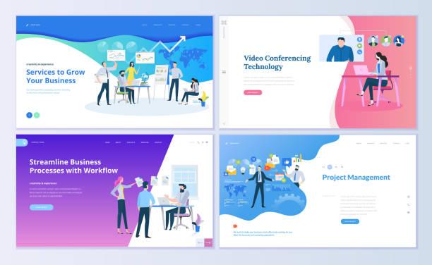 illustrations, cliparts, dessins animés et icônes de ensemble de modèles de conception de page web pour la gestion de projet, communication d'entreprise, workflow et consulting - visioconférence
