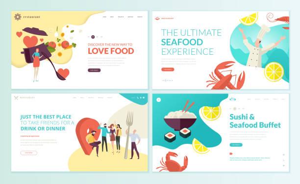 набор шаблонов дизайна веб-страниц для ресторана, морепродуктов, суши, продуктов питания и напитков. - food delivery stock illustrations