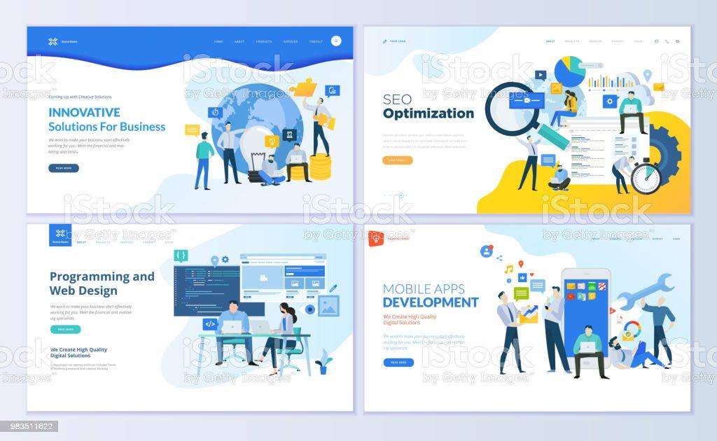 Satz Von Webseite Designvorlagen Für Seo Mobile Apps ...
