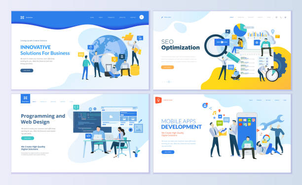 set of web page design templates for seo, mobile apps, business solutions - seo stock illustrations, clip art, cartoons, & icons