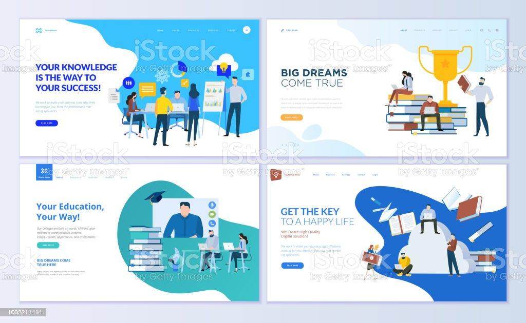 Satz von Web-Seite Design-Vorlagen für Mitarbeiter-Bildung, Beratung, Hochschule, Bildungs-app – Vektorgrafik