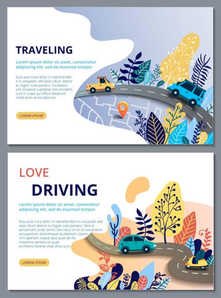 satz von web-seite design-vorlagen für reisen, reise, reise, autotour, straßen und auto. straßenkarte mit navigationssymbole. navigationskonzept. - landstraße stock-grafiken, -clipart, -cartoons und -symbole