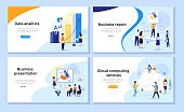 Set of web page design templates for data analysis statistics, corporate reports, business presentation and cloud computing services. Concepts vector illustration with flat cartoon characters.