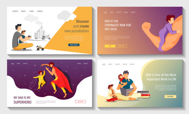 ilustrações de stock, clip art, desenhos animados e ícones de set of web pages for happy father's day, fatherhood, parenthood, childhood, dad with children. - super baby