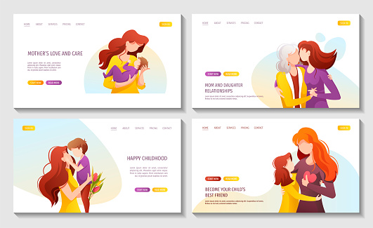 Set of web pages with moms with their child. Motherhood, Parenthood, Childhood, Mother's Day Happy family concept.