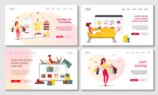 Set of web pages with online female shopping. Clothing store, E-shop, Mobile marketing, E-commerce concept.
