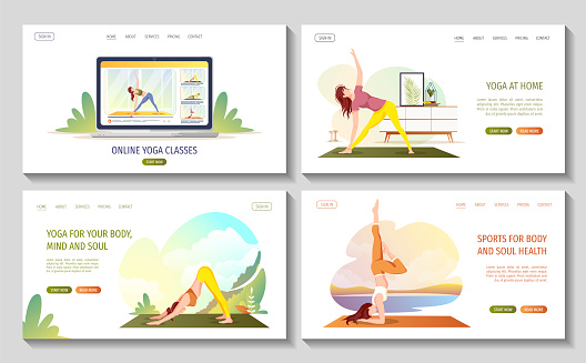 Set of web pages with women doing yoga exercises. Yoga in nature or at home. Online yoga classes, healthy lifestyle, flexibility, fitness concept.