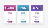 set of web price tables in a minimalist modern style. Template of white banners with color gradients and arrow and button.