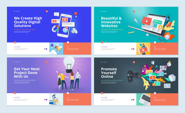 set of website template designs - strona startowa stock illustrations