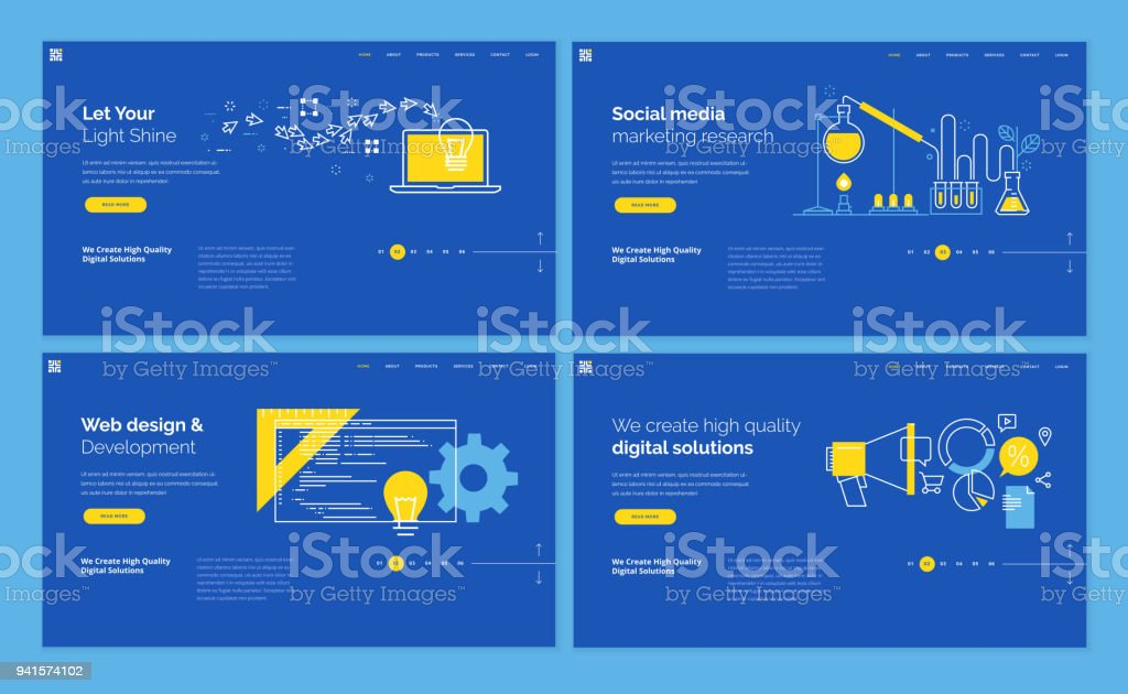 Set of website template designs vector art illustration