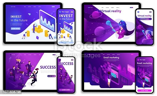 Set of Website templates, investments in the future, success, e-marketing, virtual technologies. Vector illustration concepts for website and mobile.