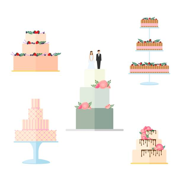 Set of Wedding cakes with floral decoration isolated on a white background. Set of Wedding cakes with floral decoration isolated on a white background. Wedding pie with bows and toppers bride and groom Vector illustration wedding cake stock illustrations