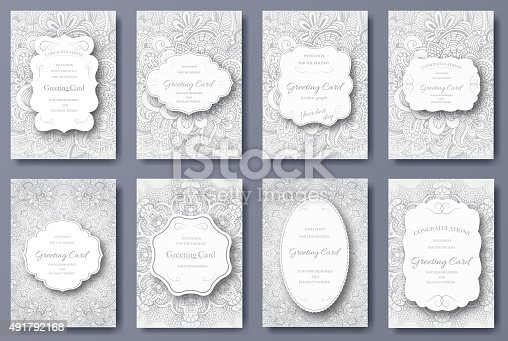 istock Set of wedding card flyer pages ornament. Art traditional 491792168