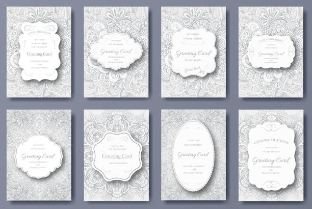 set of wedding card flyer pages ornament. art traditional - architecture borders stock illustrations