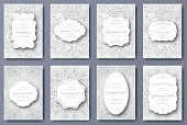 Set of wedding card flyer pages ornament. Art traditional