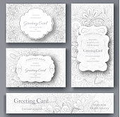 Set of wedding card flyer pages ornament illustration concept