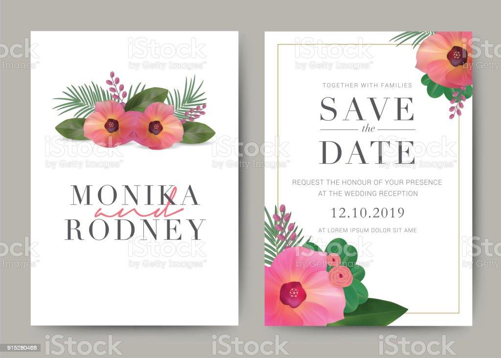 Satz Von Hochzeitskarte Vorlage Hintergrund Für Die Einladung Menü ...