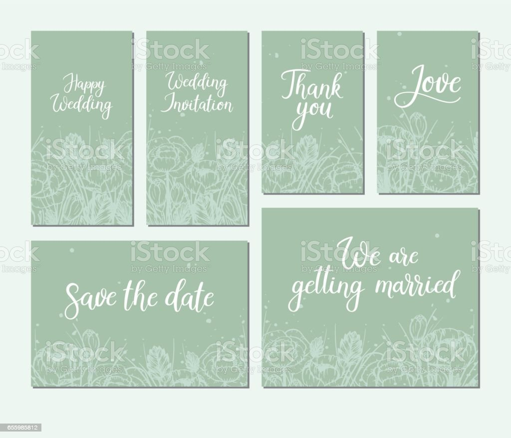 Satz Von Hochzeitskarten Kalligraphie Handschriftinschrift