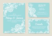 Template of wedding cards with lace border on turquoise background
