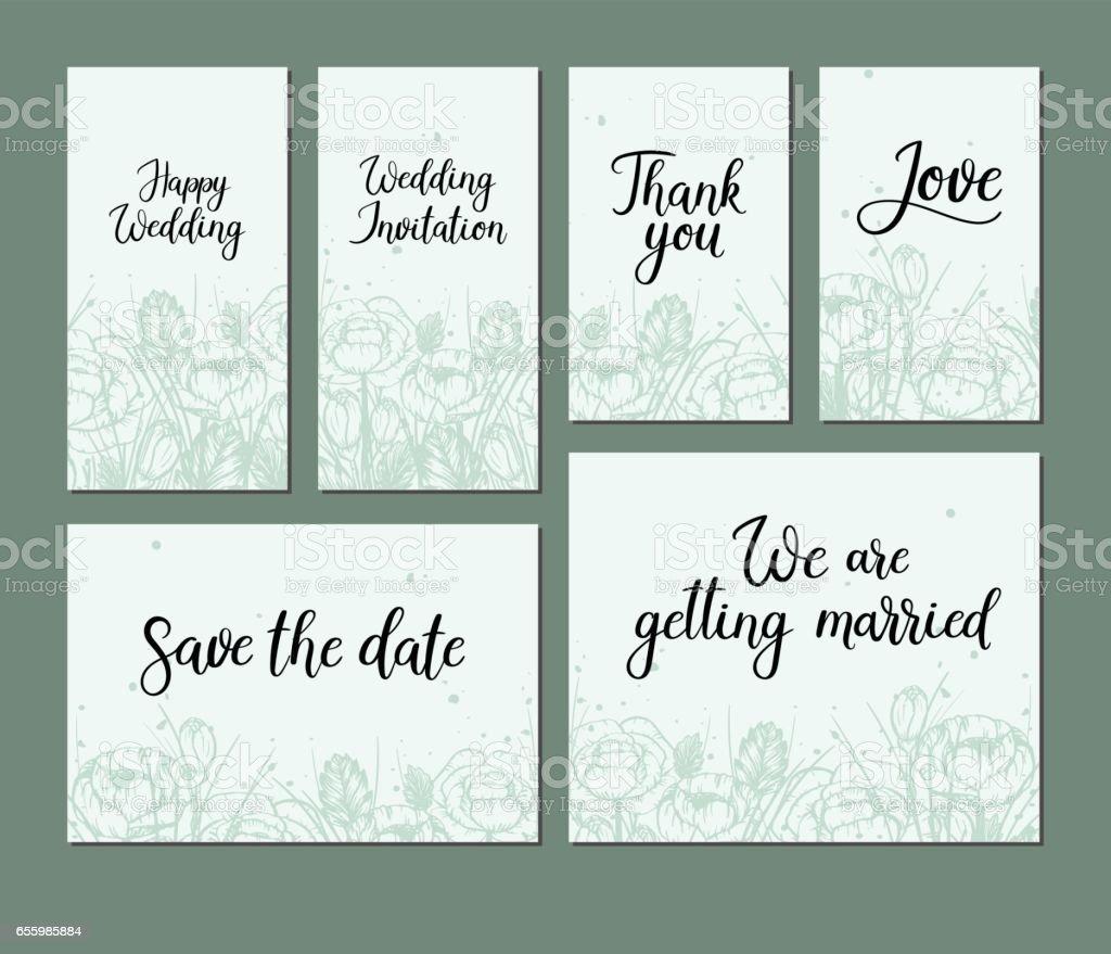 Satz Von Hochzeitskarten Vektorillustration Kalligraphie