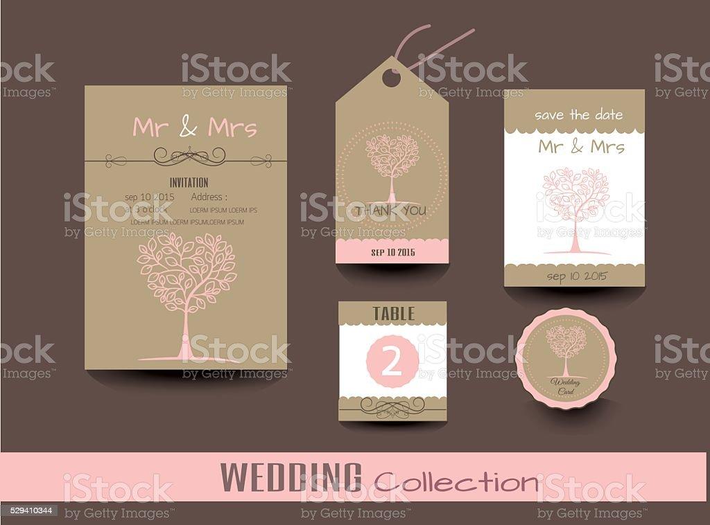 Zestaw Wesele Kart ślub Zaproszenia Dziękuję Karty Stockowa