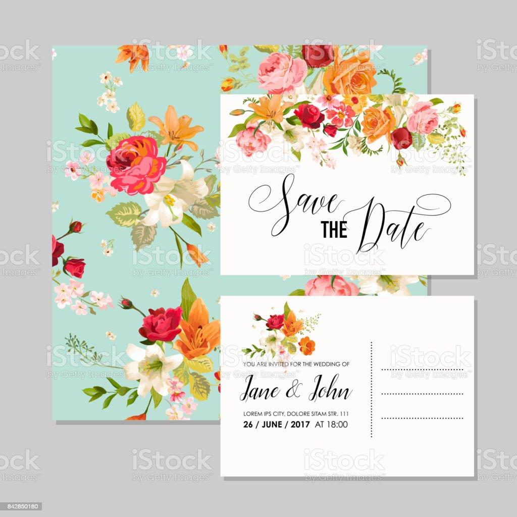 Satz Von Hochzeitskarten Mit Lilie Blumen Und Orchideen Vormerken