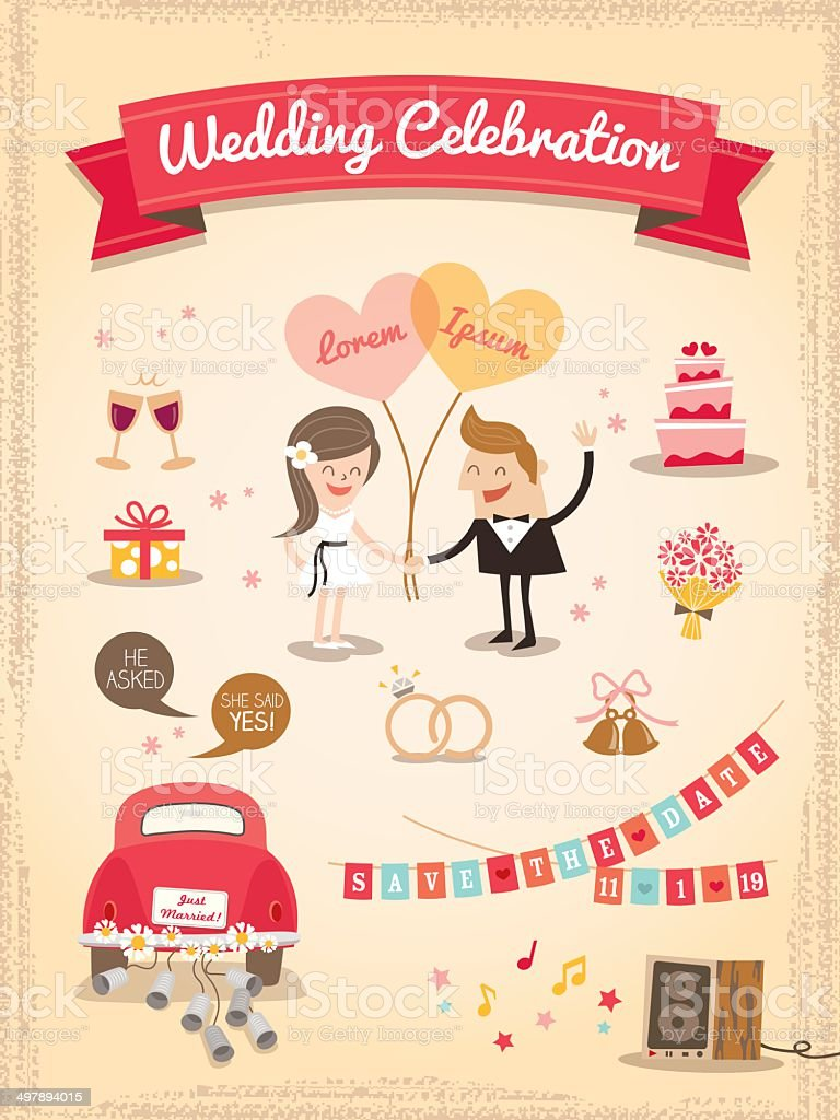 Set of Wedding cartoon design elements vector art illustration