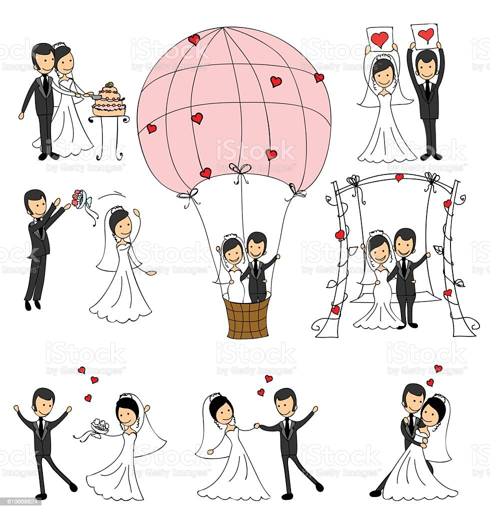 Set of wedding couple illustrations vector art illustration