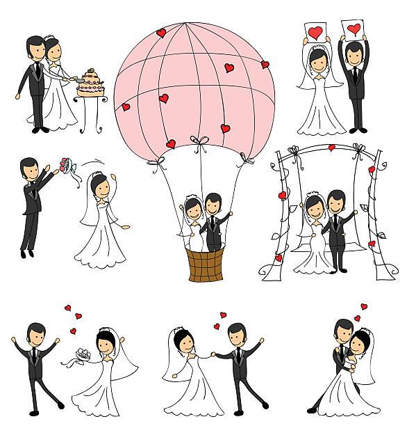 Set of wedding couple illustrations vector art illustration