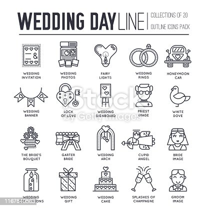 Set of wedding day decoration and attributes thin line icons on white. Marriage ceremony, food, drinks outline pictograms collection. Bridal traditions vector element for infographic, web.
