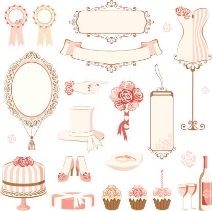 Set of wedding design elements.