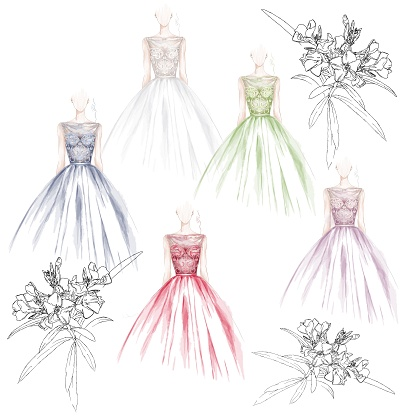Set of wedding dress collection in different colors