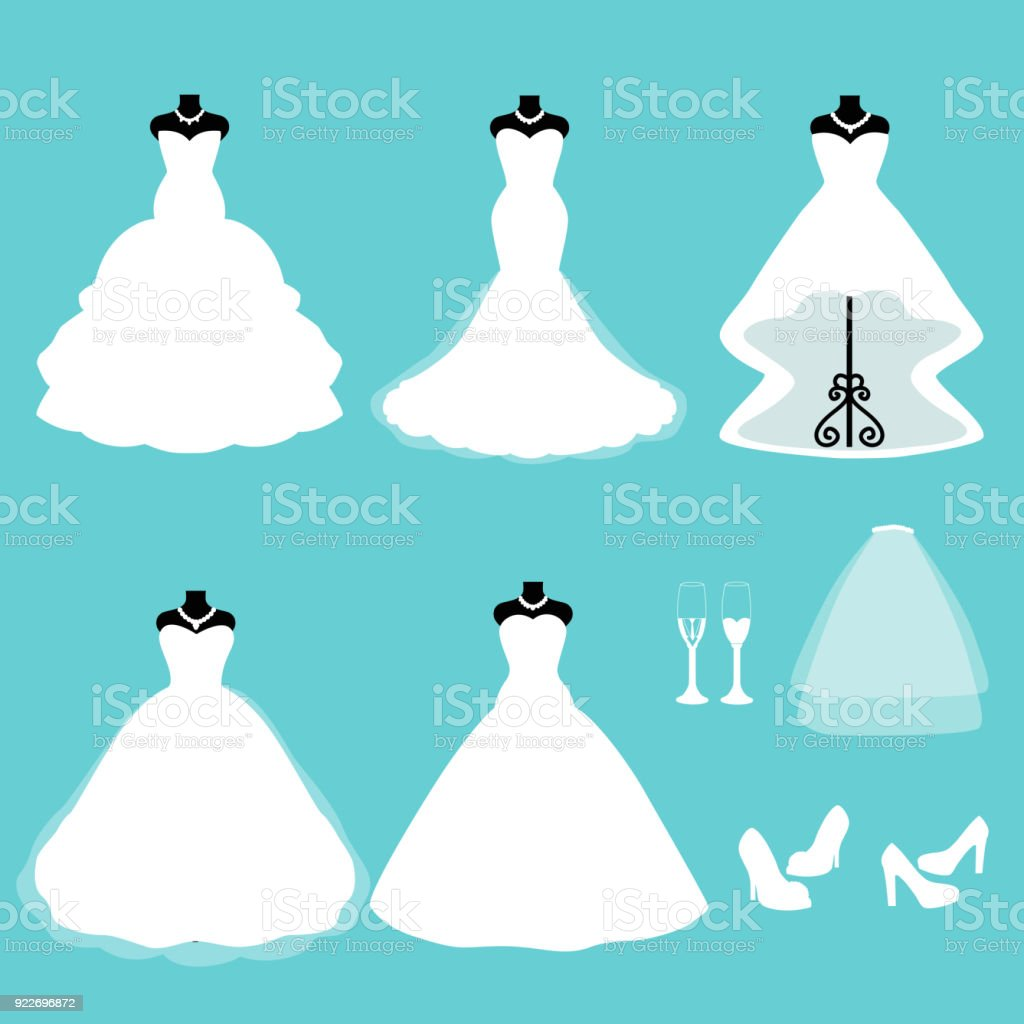 A set of wedding dresses. Clothes for the bride. vector art illustration