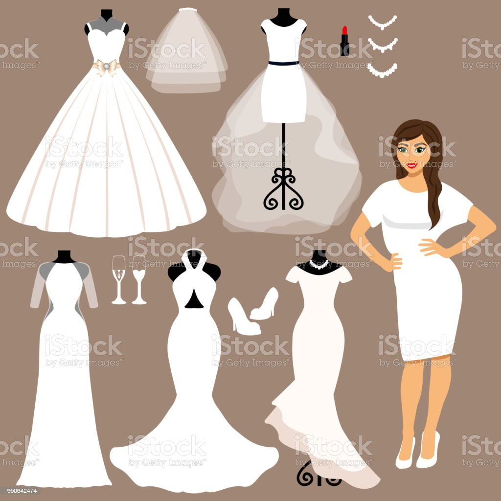 A set of wedding dresses. The choice. vector art illustration
