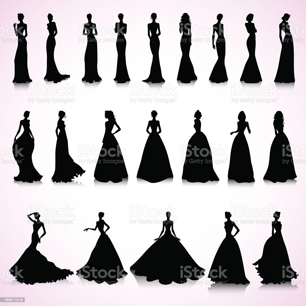 Set of wedding dresses vector art illustration