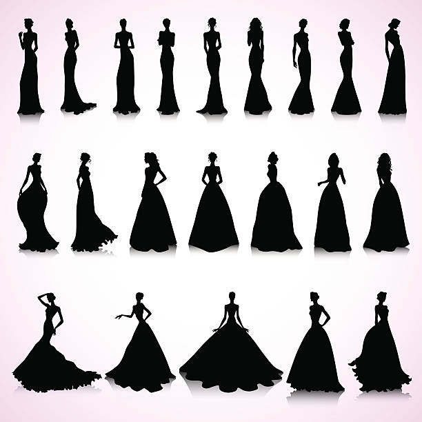 Wedding Gown Clip Art: Best Evening Gown Illustrations, Royalty-Free Vector