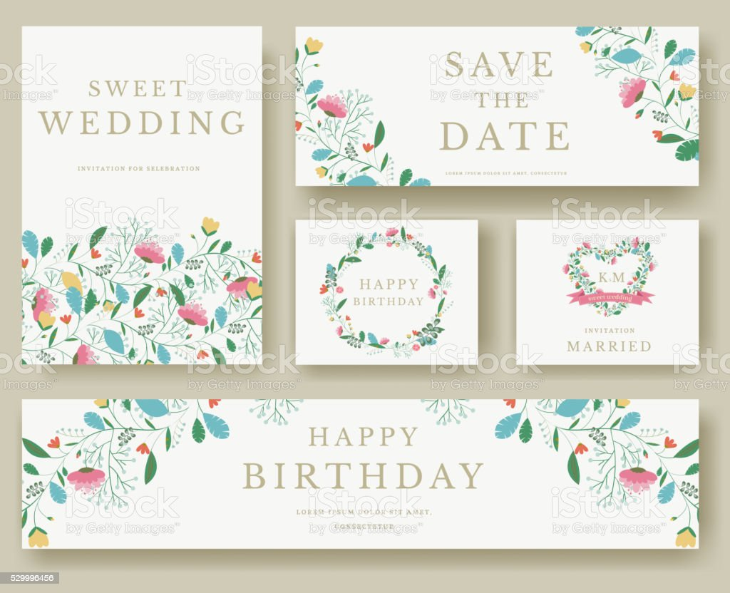 Set of wedding flower invitation cards vector art illustration