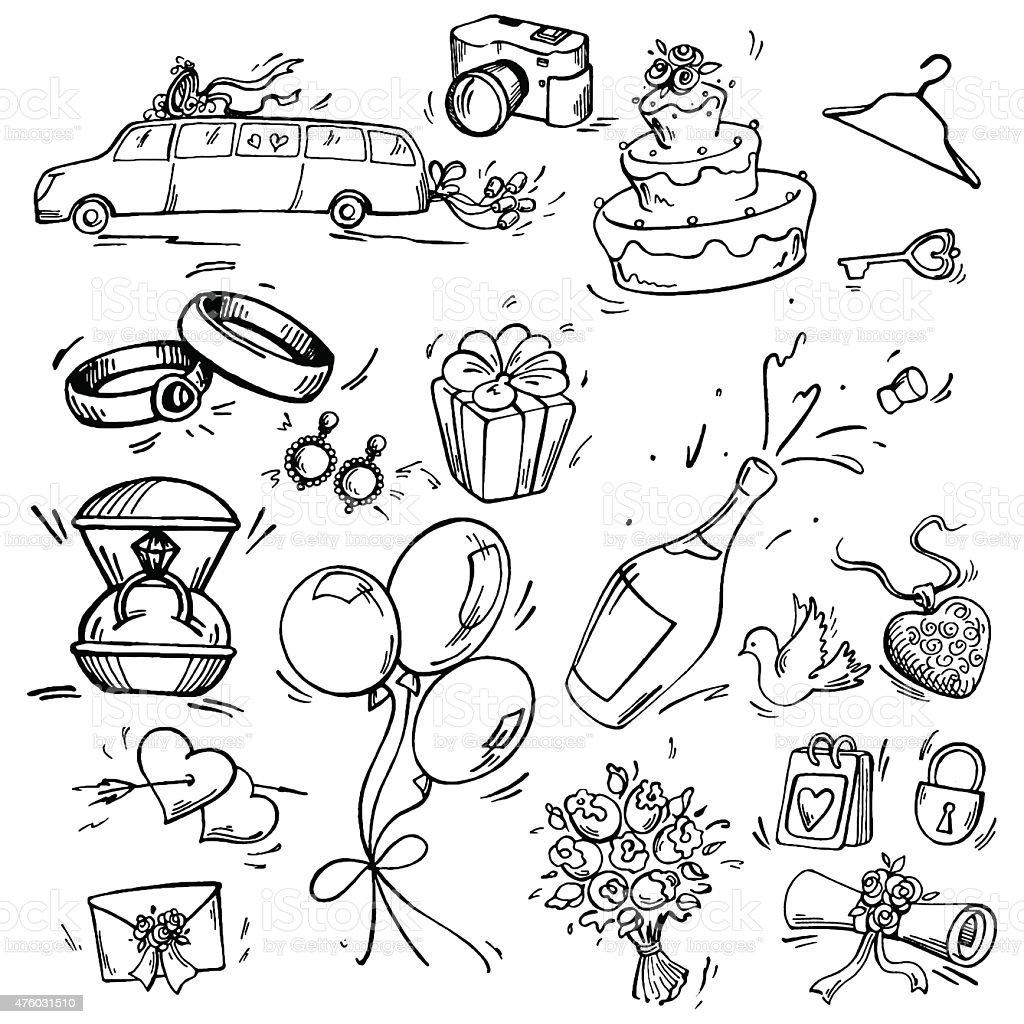 Set of wedding icon vector art illustration