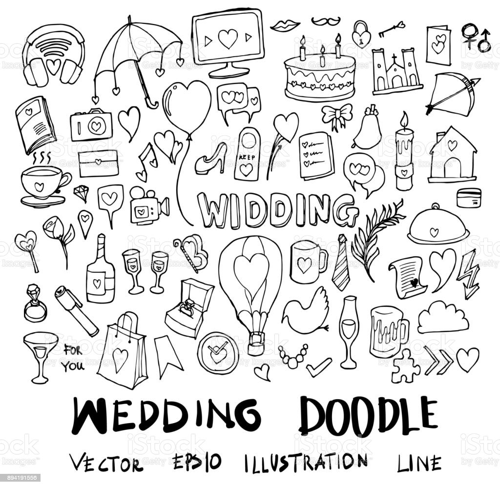 結婚式イラスト手描きのセット落書きスケッチ線ベクトル Eps10