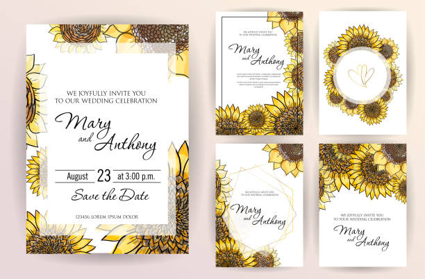 set of wedding invitation card flowers sunflower. a5 wedding invitation design template on white background. vector hand drawn colorful marker illustration.doodle sketch line on white background frame - sunflower stock illustrations