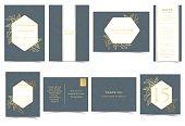 Set of Wedding Invitation Card. Gold Flowers Luxury on Navy Blue Background Concept.Vector/Illustration